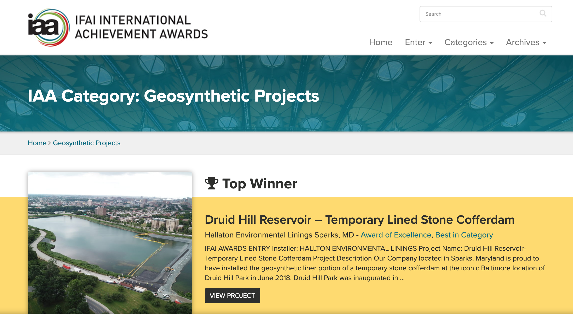 IAA Geosynthetics Project Top Winner